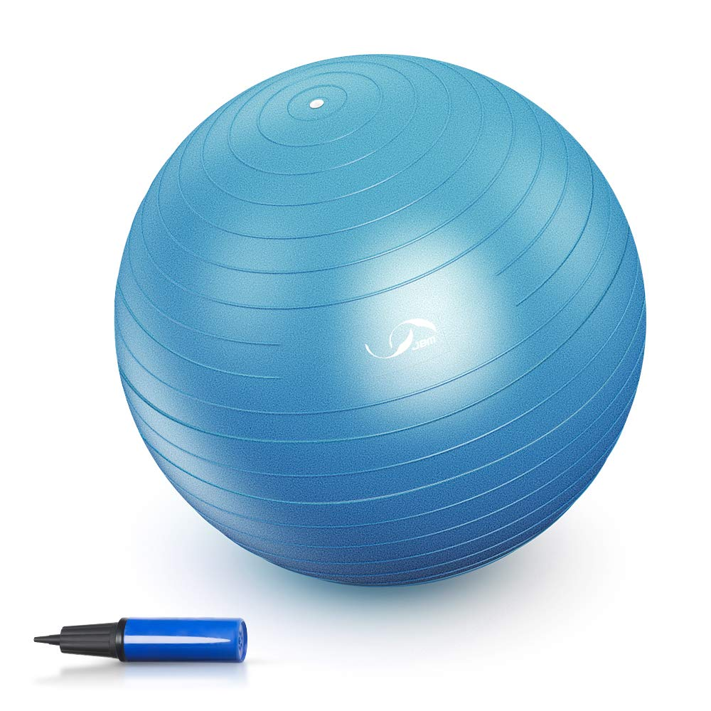 JBM Exercise Yoga Ball with Free Air Pump 200 lbs Slip-Resistant Yoga Balance Stability Swiss Ball for Fitness Exercise Training Core Strength (Blue, 55cm)