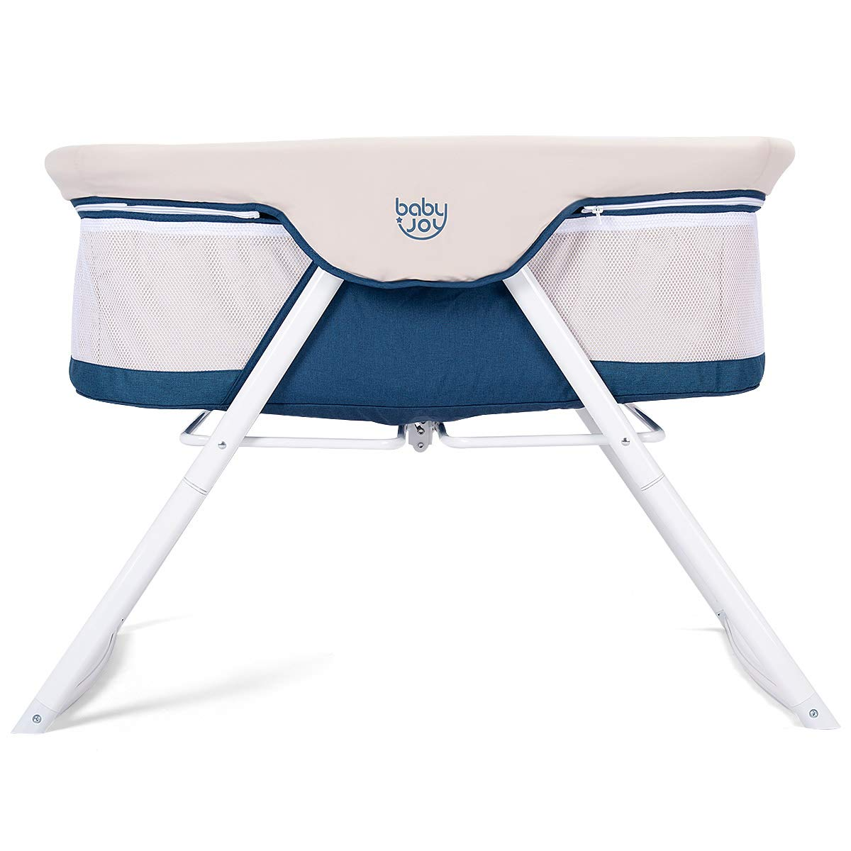 BABY JOY Rocking Bassinet, 2 in 1 Lightweight Travel Cradle w/Detachable & Washable Mattress, Zippered Breathable Mesh Side, Oxford Carry Bag Included, Portable Crib for Newborn Baby (Beige + Blue)