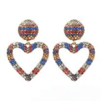 Feraco Sparkling Heart Earrings for Women Colorful Cubic Zirconia Crystal Love Earring With Exquisite Gift Box