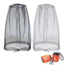 Benvo Mosquito Repellent Head Net, Face Netting Mask for Bugs, Gnats, No See Ums and Other Insects, Protection for Any Outdoor Lover- with Free Carry Bags (2Pcs, Grey and Black, Updated Big Size)