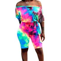 acelyn Women's Summer Casual Romper - Off Shoulder Tie Dye Biker Short Jumpsuits with Belt
