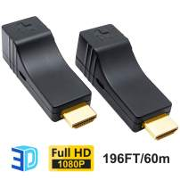 DDMALL HDMI Extender Over Single CAT5e/CAT6 Cable, Deep Color, 3D, Zero Loss, Zero Latency, Full HD, POC, Auto EDID, HDMI Transmitter and Receiver Kit