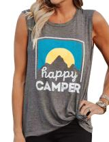 Nlife Women's Casual Tank Top Happy Camper Letter Print O-Neck Sleeveless Pullover T-Shirt Grey