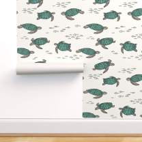 Spoonflower Peel and Stick Removable Wallpaper, Turtles Turtle Sea Under Print, Self-Adhesive Wallpaper 24in x 108in Roll