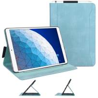 """Skycase iPad Air 3 Case 10.5"""" 2019 (3rd Generation), Canvas Multi-Angle Viewing Stand Folio Case for iPad Air 3 10.5 2019 / iPad Pro 10.5 2017, with Pencil Holder and Card Holders, Mint Green"""