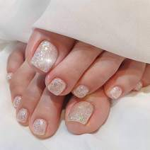 deladola Gillter Fake Toenails Silver Sequin Foot False Nails Crystal Acrylic Full Cover Fake Toe Nails Clip Press On Nails for Women and Girls(24Pcs)