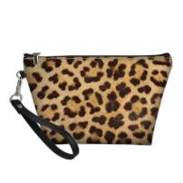 Dellukee Portable Travel Cosmetic Organizer for Women Leopard Print Roomy Zipper Closure Toiletry Pouch Travel Makeup Bag Purse