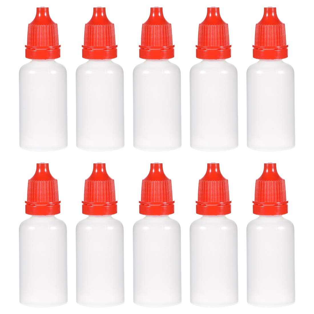uxcell Plastic Dropper Bottles, 20ml/0.68 oz Empty Squeezable Liquid Dropper Bottle with Childproof Cap, Red, Pack of 20