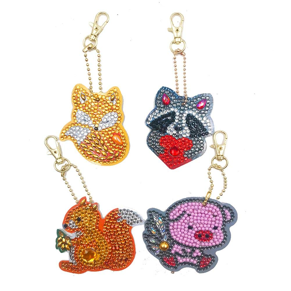 Diamond Painting Keychain Kit for Kids and Adults, DIY Full Drill Diamond Painting Art Crafts Squirrel 4 Pack