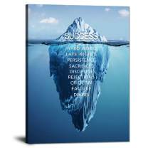 """Yatsen Bridge Iceberg Wall Art Pictures Motivational Posters Inspirational Quotes Canvas Painting Modern Inspiring Prints Artwork for Office Gym Classroom Decorations Framed Ready to Hang(36""""Wx48""""H)"""