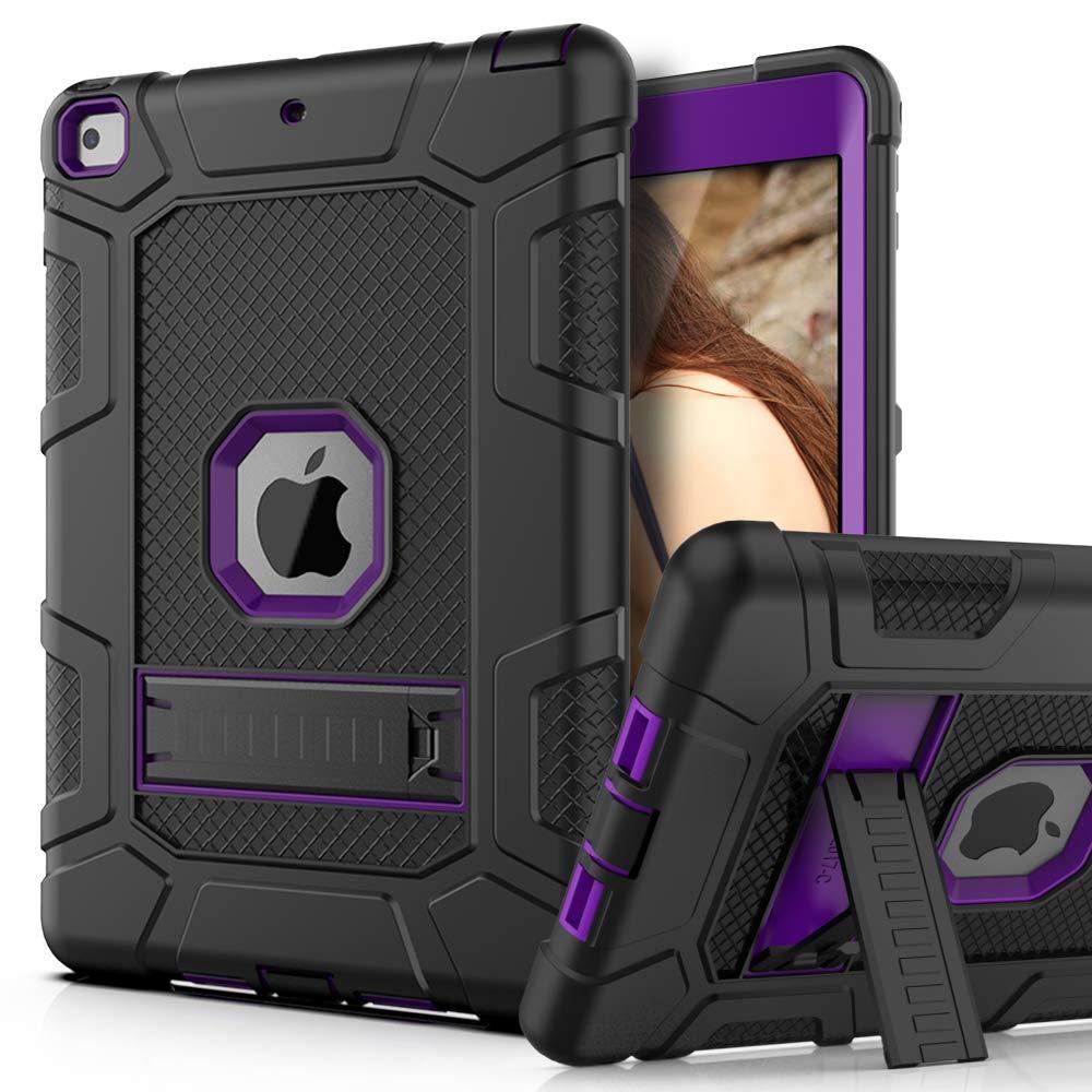 PBRO Case for iPad 9.7 2018/2017,iPad 9.7 iPad 5th / 6th Generation Shockproof Defender Kickstand Three Layer Protective Anti-Scratch Rugged Hybrid Case for iPad 2017/2018,Black Purple