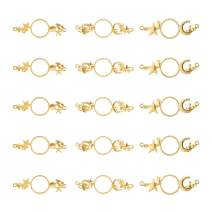 OLYCRAFT 15pcs Universe Theme Open Bezel Charms 3-Style Alloy Frame Pendants Color-Lasting Hollow Resin Frames with 2 Loops for Resin Jewelry Making - Gold