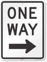 """SmartSign MUTCD # R6-2R 3M High Intensity Grade Reflective Sign, Legend """"One Way"""" with Right Arrow, 24"""" high x 18"""" wide, Black on White"""