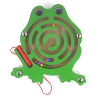 Elloapic Mini Round Wooden Round Maze Puzzle Interactive Maze Pen Driving Beads Maze on Board Game Eduactional Handcraft Toys Frog