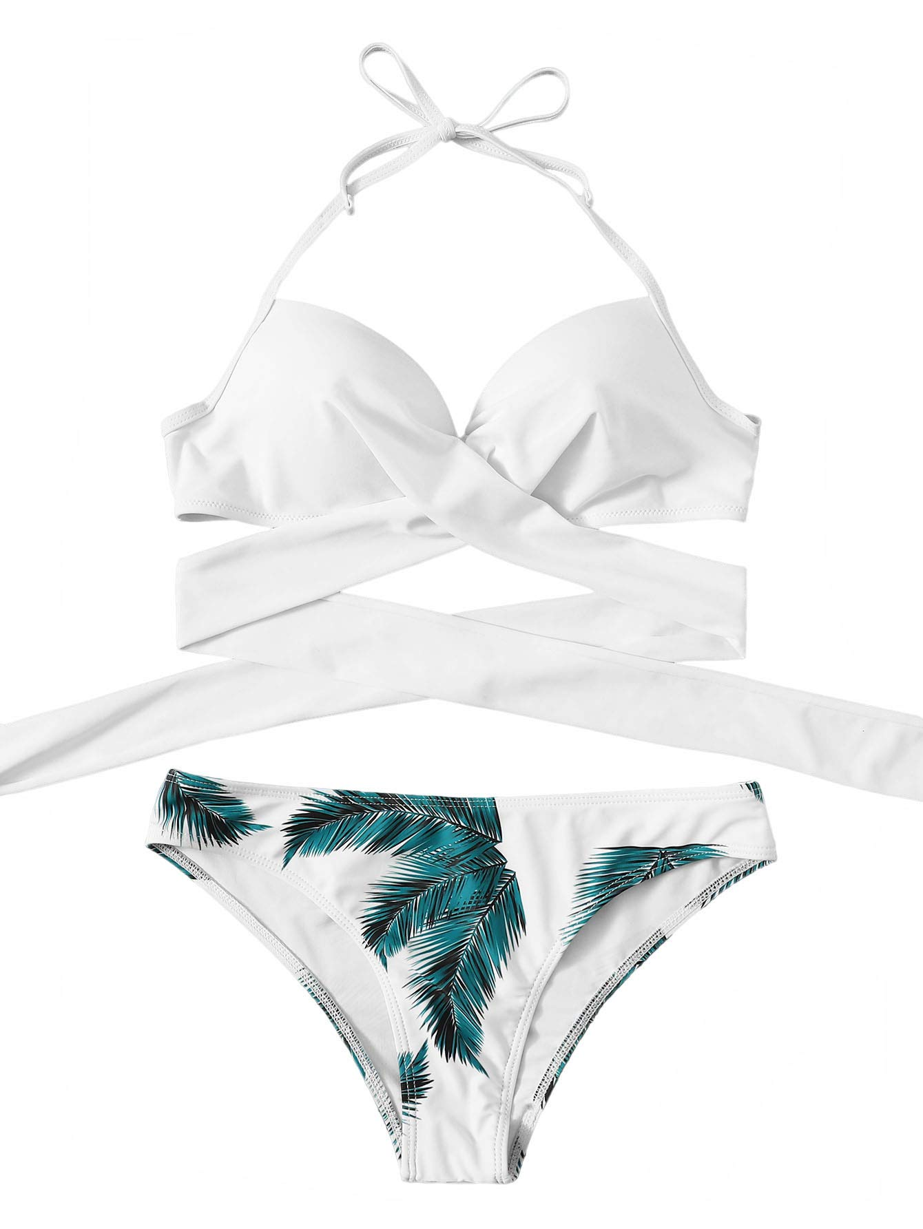 SOLY HUX Womens Sexy Padded Two Piece Floral Halter Wrap Knotted Back Bikini Set