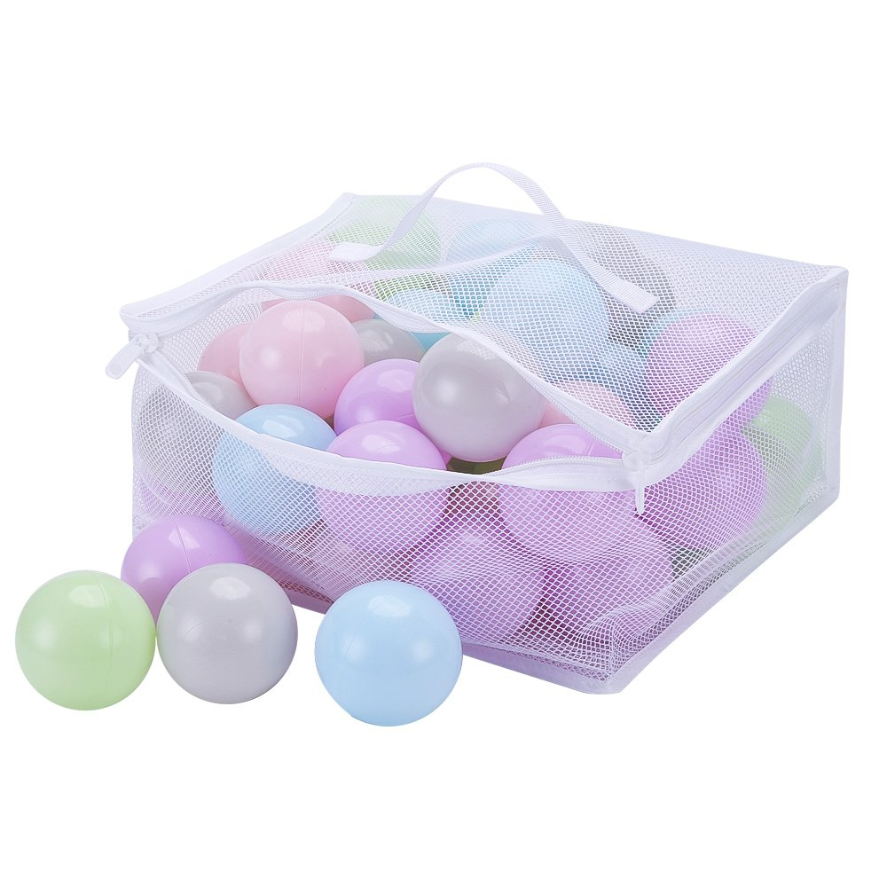 PlayMaty Pack of 50 Macaron Ball Pit Plastic Ball Kids Swim Pit Fun Toy 50 Pieces Phthalate Free BPA Free Balls with Storage Bag for Baby Playhouse Pool Birthday Party Decoration (Mixed Color)