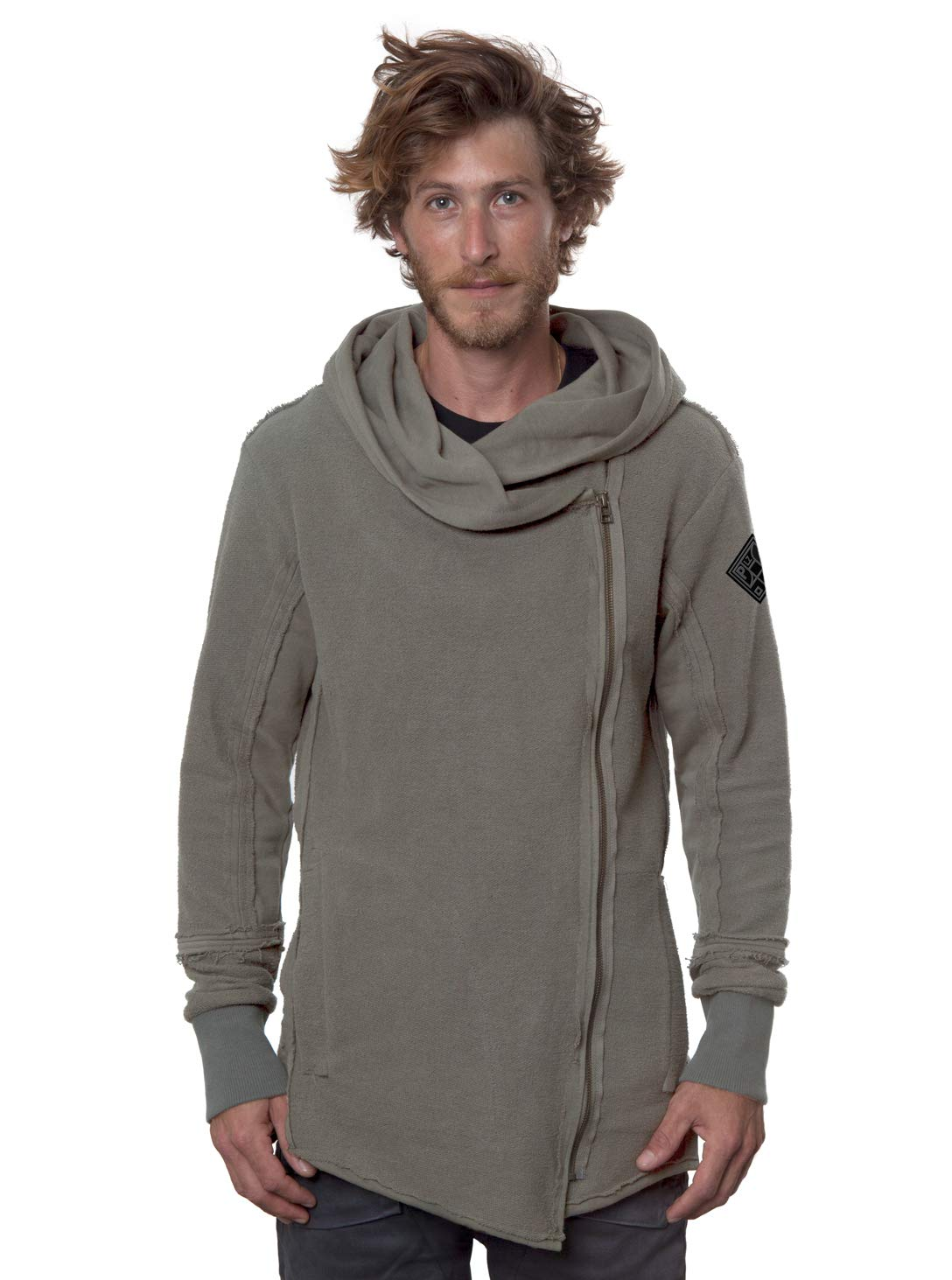 Men's Token Hooded Jacket Asymmetrical Side Zip Gray French Terry Cotton Outwear