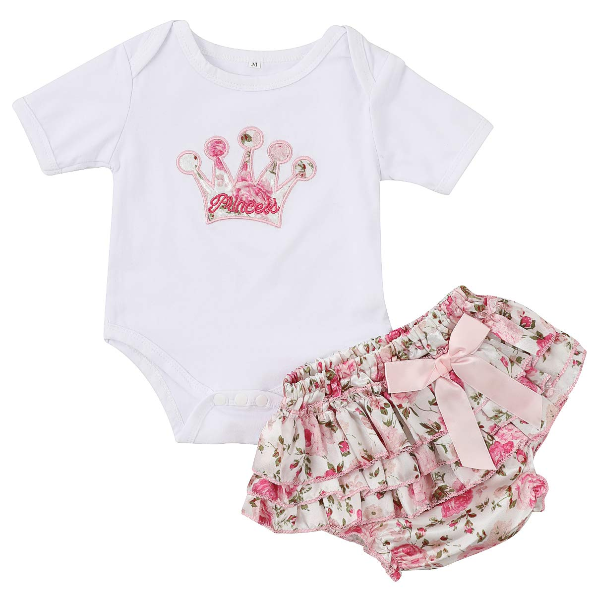 Toddler Newborn Baby Girls Long Sleeve Bodysuit Romper Floral Pants Hats Outfits Set