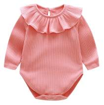 BomDeals Newborn Baby Girl Ruffle Romper, Infant Toddler Solid Color Onesies