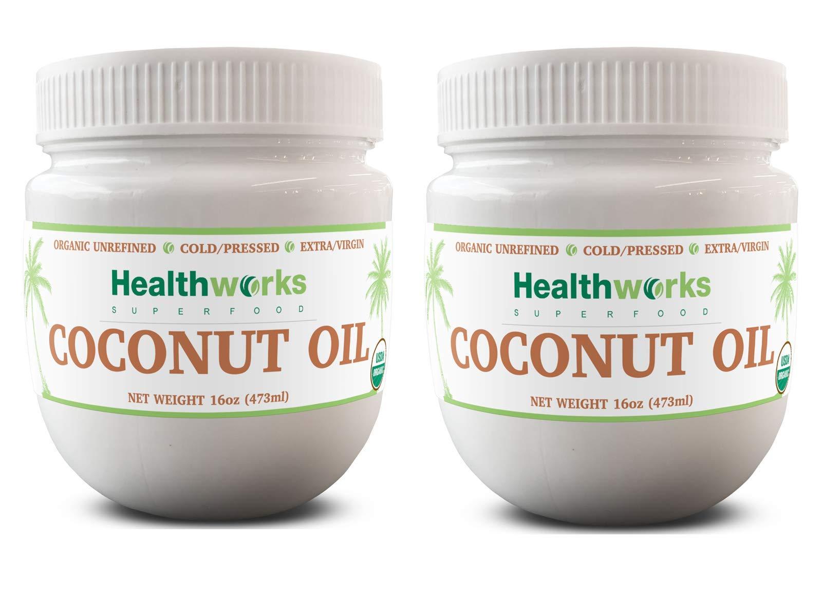 Healthworks Coconut Oil (32 Ounce / 2 Pound) (2 x 16 Ounce Jar) I Organic & Unrefined I Extra Virgin, Cold-Pressed, Keto, Vegan & Non-GMO