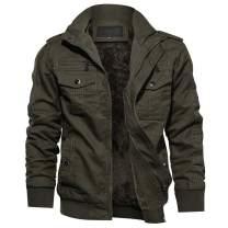 TACVASEN Men's Winter Jacket-Fleece Cotton Military Coat Thicken Casual Cargo Bomber Jacket