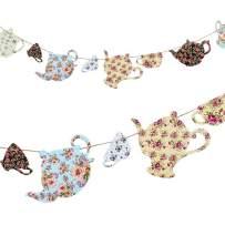 SUNBEAUTY Paper Teapots Tea Cup Banner DIY Hanging Garlands Mother's Day Tea Party Birthday Baby Shower Garden Decoration