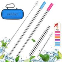 2 Pack Reusable Collapsible Straw, Telescopic Travel Straw with Case, Portable Straw with 6 Silicon Tips