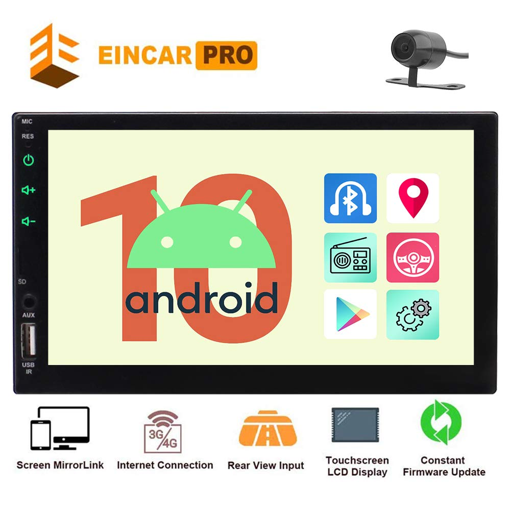 """Eincar Android 10 Head Unit Double 2 Din Car Radio Quad Core 7"""" HD Capacitive Touch Screen GPS Navigation Stereo System Support Bluetooth 1080P Mirrorlink Reverse Camera WiFi 4G USB TF"""