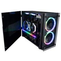 CUK Stratos Mini Gaming PC (Liquid Cooled Intel Core i9, 32GB RAM, 512GB NVMe + 1TB HDD, NVIDIA GeForce RTX 3070 8GB, 650W PSU, AC WiFi, Windows 10 Home) Tiny RGB Desktop Gamer Computer
