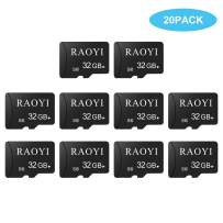 RAOYI 20 Pack 32 GB Micro SD Card Class 10 Flash Memory Card Bulk with Adapter for Cell Phone, Tablet, Camera, Fire, GoPro, Nintendo, Dash Cam, DJI (20 Pack)