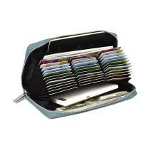 Lacheln Large 36 Slots RFID Blocking Credit Card Organizer Wallet Genuine Leather Zipper Money Holder