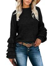 Womens Chunky Long Sleeve Sweaters Crewneck Ruffle Knit Vintage Pullover Shirt Tops