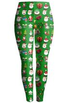 Pink Queen Women's Christmas Santa Claus Print Leggings Stretchy Tights