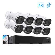 H.View 4K CCTV System 8CH 8MP PoE NVR Security Camera System with 8pcs 4K IP PoE Camera Indoor/Outdoor Weatherproof IP67 100ft Night Vision Easy to Install Yourself(Pre-Install 2TB HDD)