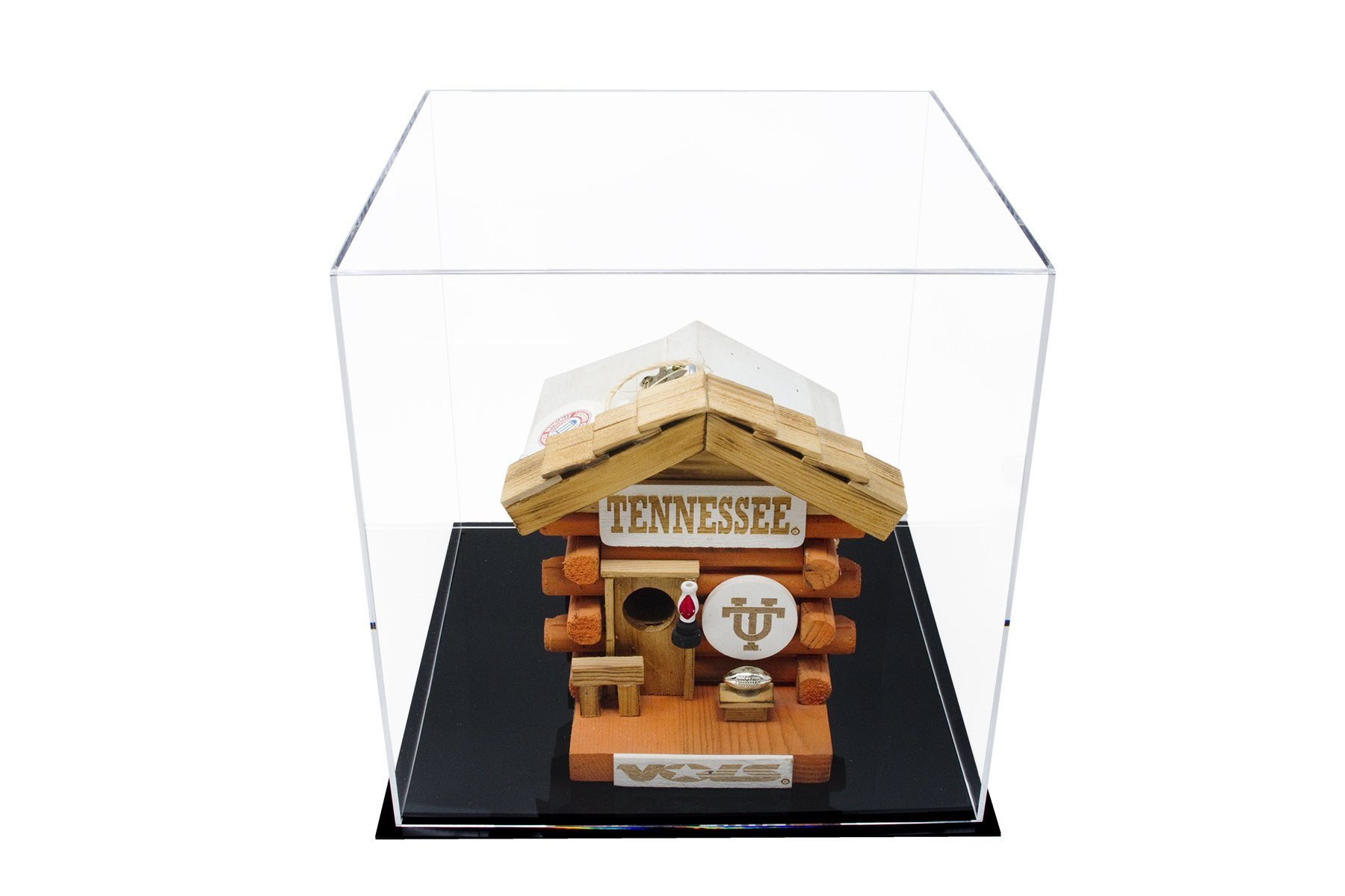 """Better Display Cases Versatile Acrylic Display Case, Cube, Dust Cover or Riser with Black Base 12"""" x 12"""" x 12"""" (A061-CDS)"""