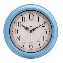"jomparis Retro Wall Clock,12"" Blue Quartz Decorative Battery Operated Clocks"