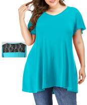 VEPKUL Womens Plus Size Tunic Summer Ruffle Short Sleeve Lace Patchwork Soft Loose Casual Home Top Blouse T-Shirt