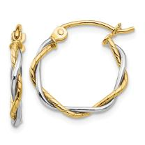 14k Two Tone Yellow Gold 1.8mm Twisted Hoop Earrings Ear Hoops Set Fine Jewelry For Women Gifts For Her