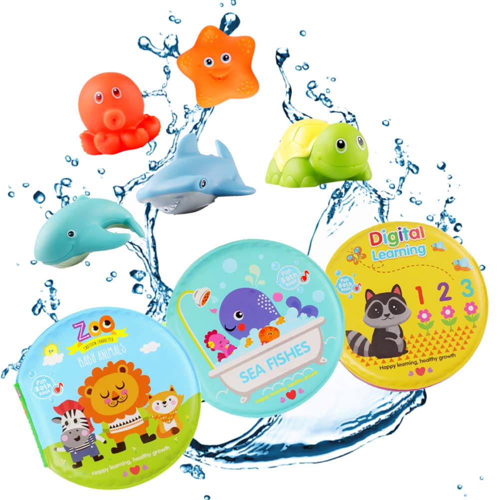 DX DA XIN Baby Bath Book Toy, Kids Squirt Bath Toys with Early Education Bath Books Waterproof Learning Bath time Toys for 1-3 Year Old Toddlers Infant Boys Girls