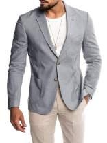 Ryannology Mens Casual Linen Tailored Suit Jacket Blazer Long Sleeve Two-Button Lightweight Summer Sport Coat