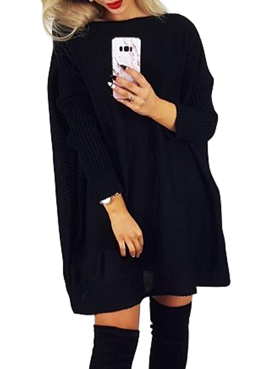 Dearlovers Women's Oversized Loose Casual Long Pullover Sweaters Dress Jumper