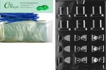 """Cybrtrayd""""Bite Size Black Tie and Hat"""" Dads Chocolate Candy Mold with Packaging Bundle, Includes 50 Cello Bags and 50 Blue Twist Ties"""