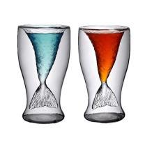 Mermaid Shot Glass,2 Pack 3.4oz Mermaid Cup,Mermaid Wine Glasses for Women,Funny Mermaid Mugs for Beer Whiskey Cocktail,Double Wall Mermaid Tail Cup for Girls or Men,Gift for Christmas (Mermaid)