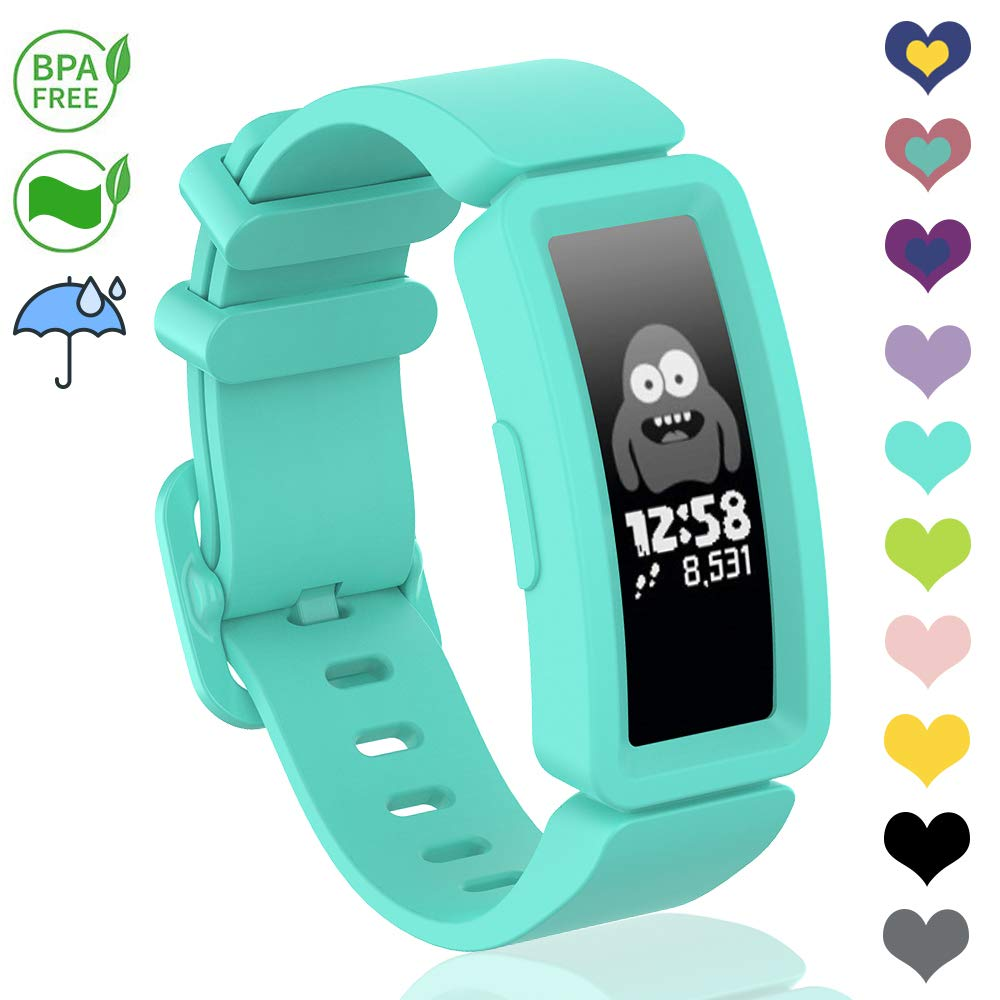 VEAQEE Compatible with Ace 2 Bands for Kids 6+, Soft Silicone Bracelet Accessories Sport Strap Boys Girls Wristbands Compatible for Fitbit Ace 2 & Inspire HR (Teal)