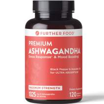 Further Food Premium Organic Ashwagandha, Max Strength, 1325mg, 120 Vegan Capsules | Reduces Stress & Anxiety, Black Pepper & Avocado Oil for Absorption, 2-Month Supply