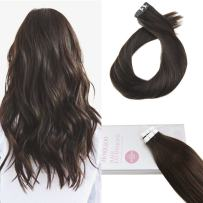 【Buy 2 Saving 6%】Moresoo 18 Inch Remy Human Hair Glue in Extensions Darkest Brown Color #2 Seamless Skin Weft Tape Hair 20pcs/50g Unprocessed Invisible Tape in Human Hair Extensions