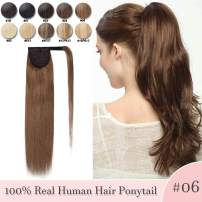 Ponytail Human Hair Extensions Real Hair Wrap Around Ponytail Hairpieces Remy Hair Clip in Pony Tails One Piece Ponytail Hair Piece with Magic Paste For Women 16inch 80g #06 Light Brown