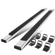 5 Inches Flat Side Step Bar Running Boards w/Honeycomb Step Plate Replacement for Ford F-150 F-250 F-350 Crew Cab 15-20