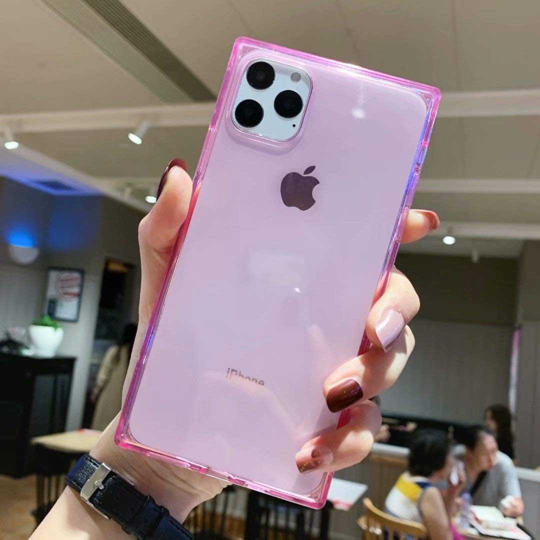 iPhone 11 Pro Max Square Case Transparent,Tzomsze 11 Pro Max Clear Case Reinforced Corners TPU Cushion,Crystal Clear Slim Cover Shock Absorption TPU Shell for iPhone 11 Pro Max 6.5 inch (2019)-Pink