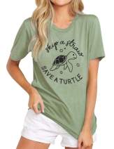 OWIN Women Skip A Straw Save A Turtle T-Shirt Ocean Lover Gifts Green T-Shirt